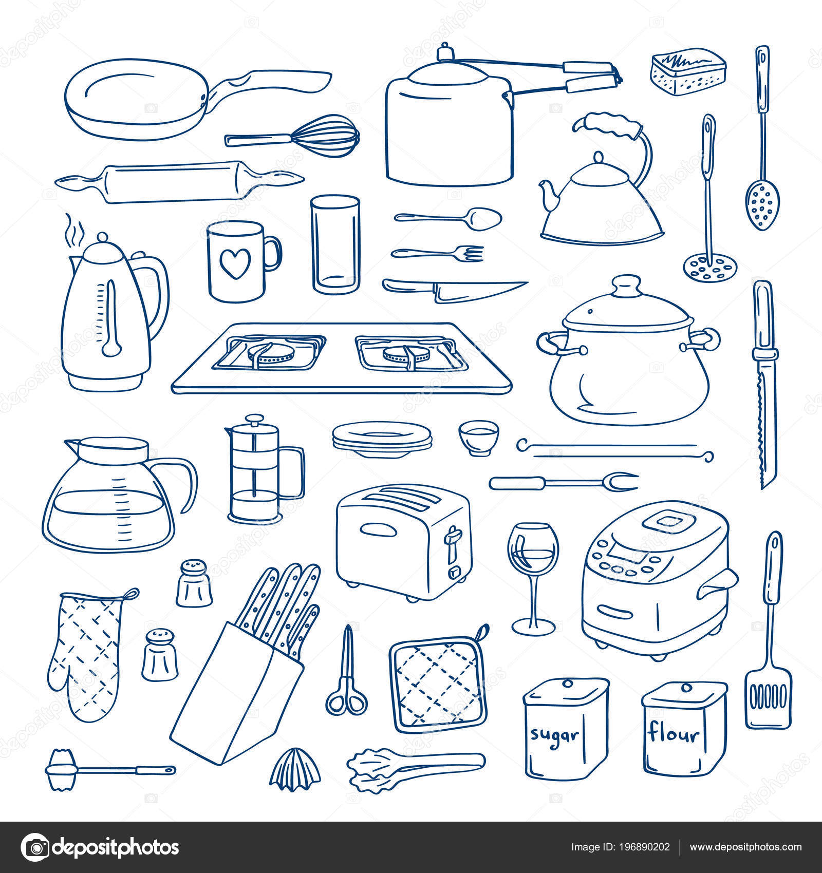 Vector Hand Drawn Kitchen Utensils Doodle Icons Set