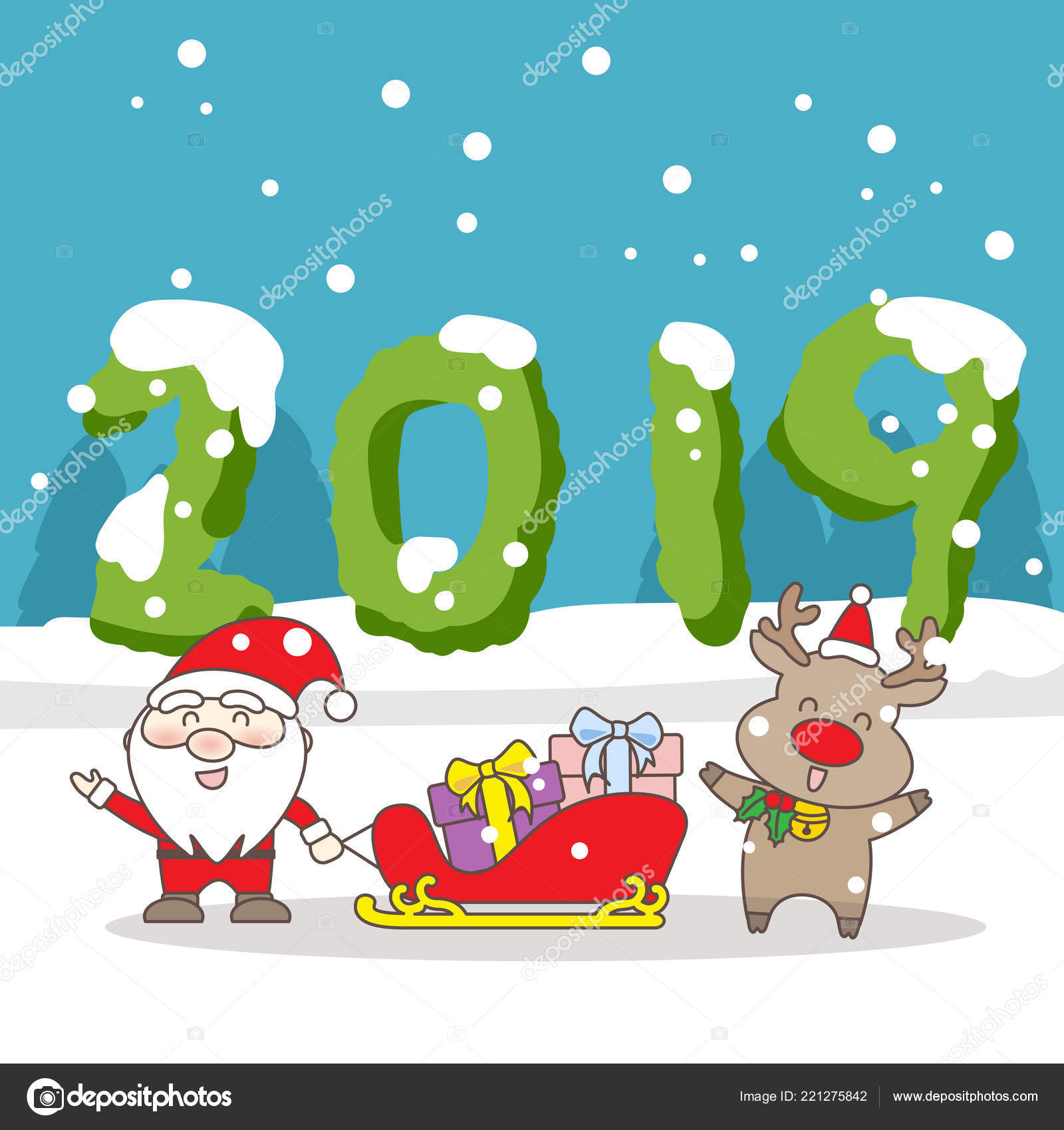 Merry Christmas Happy New Year 2019 Number Stock Vector