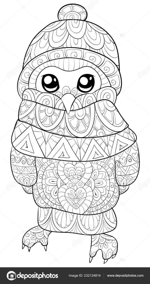 Cute Cartoon Owl Wearing Christmas Cap Scarf Gloves Image Adults
