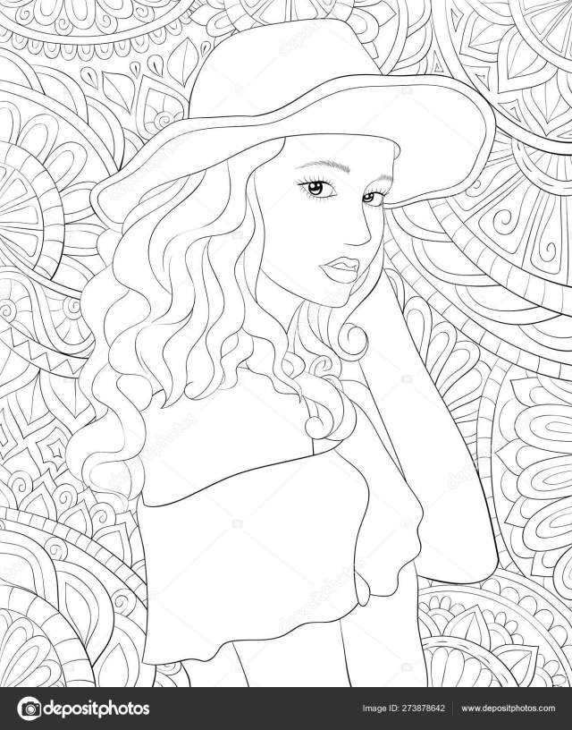 Adult coloring book,page a cute girl wearing a hat on the abstra