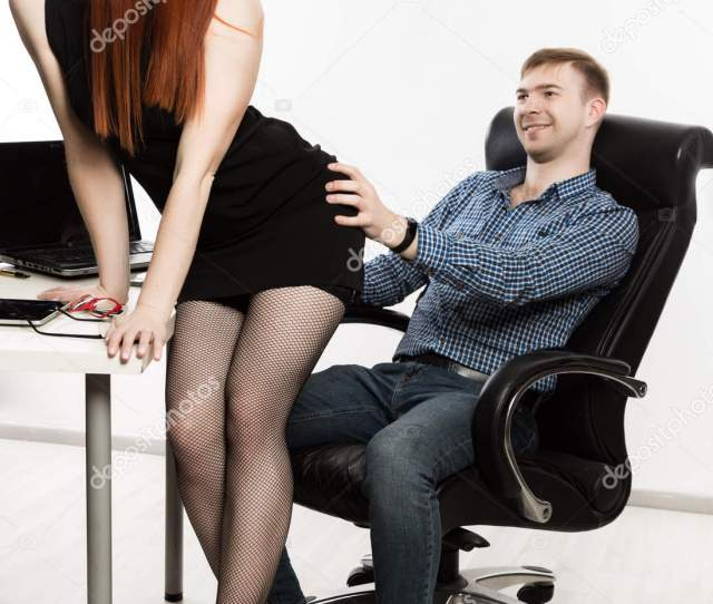 Sexy Secretary Flirting With Boss In The Workplace Sexual Harassment And Office Abuse Concept