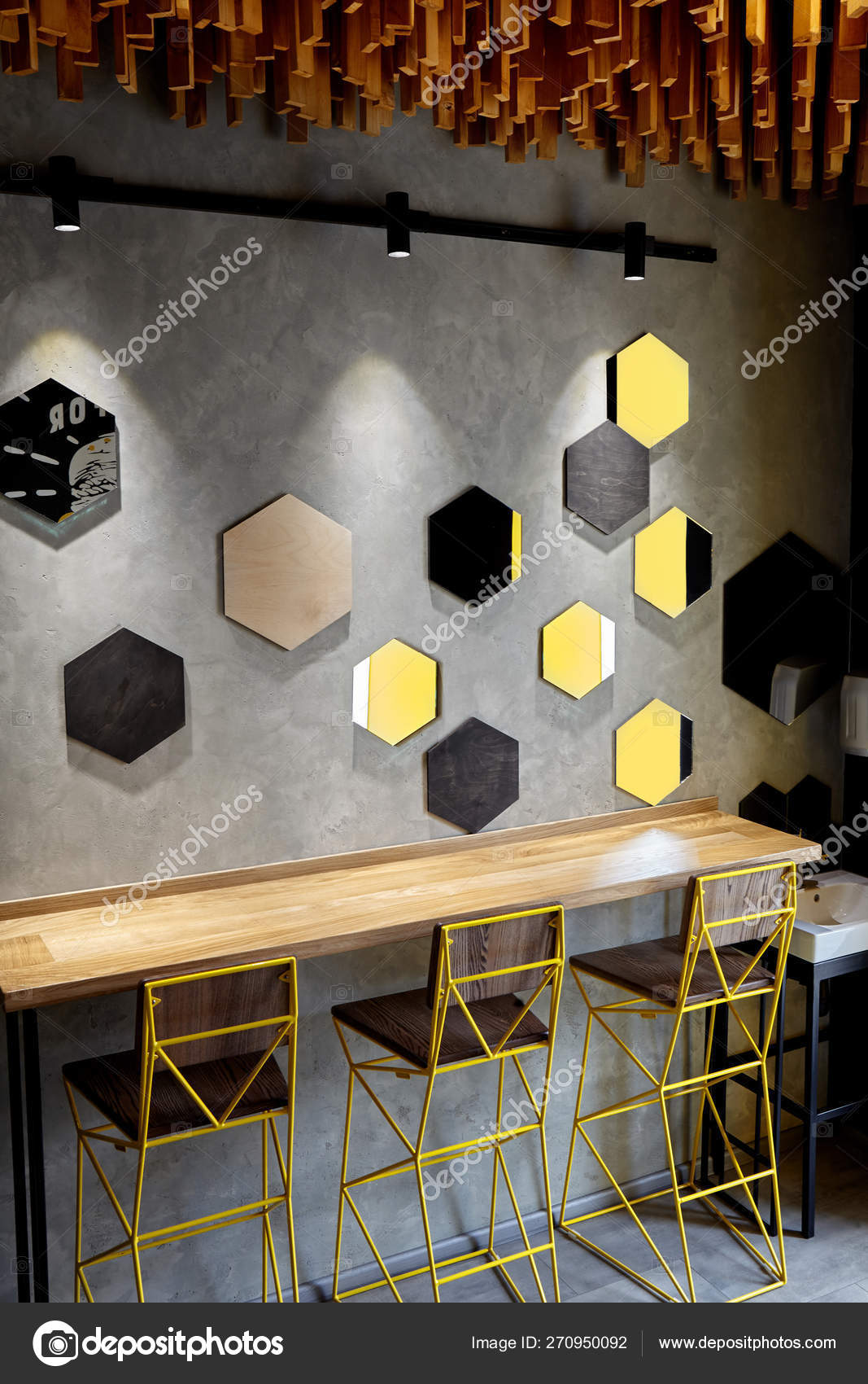Interior of cafe . Loft space design, wooden table, concrete wall. creative  minimalistic cafe interior, simplicity and geometry concept, black and