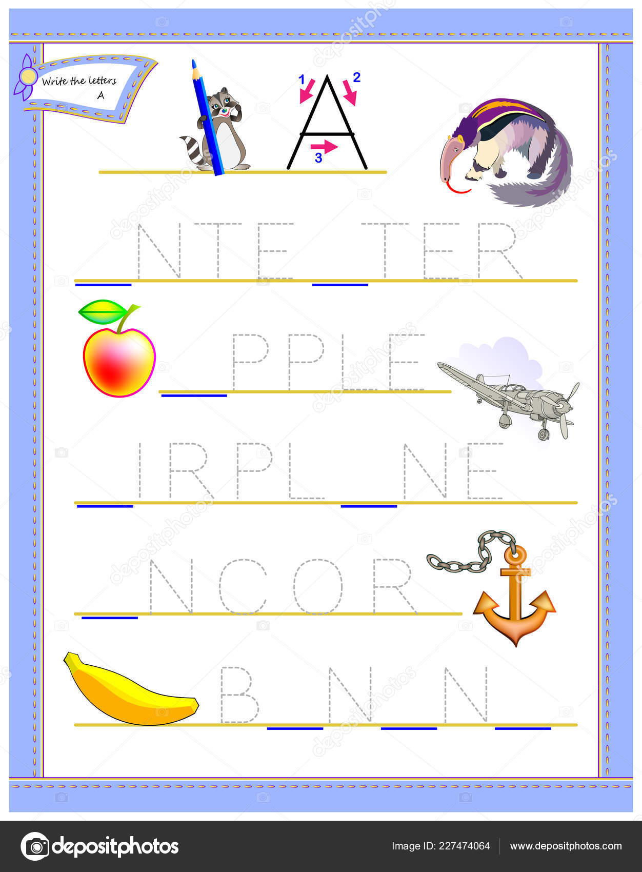 Tracing Letter Study English Alphabet Worksheet Kids Logic