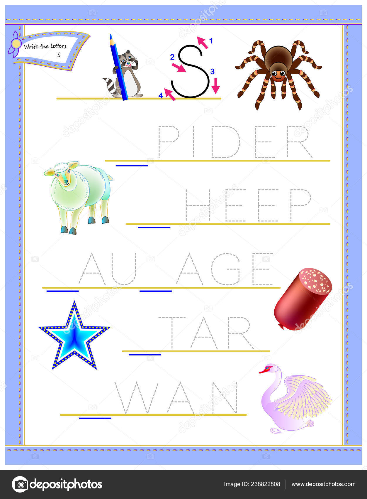 Tracing Letter Study English Alphabet Printable Worksheet