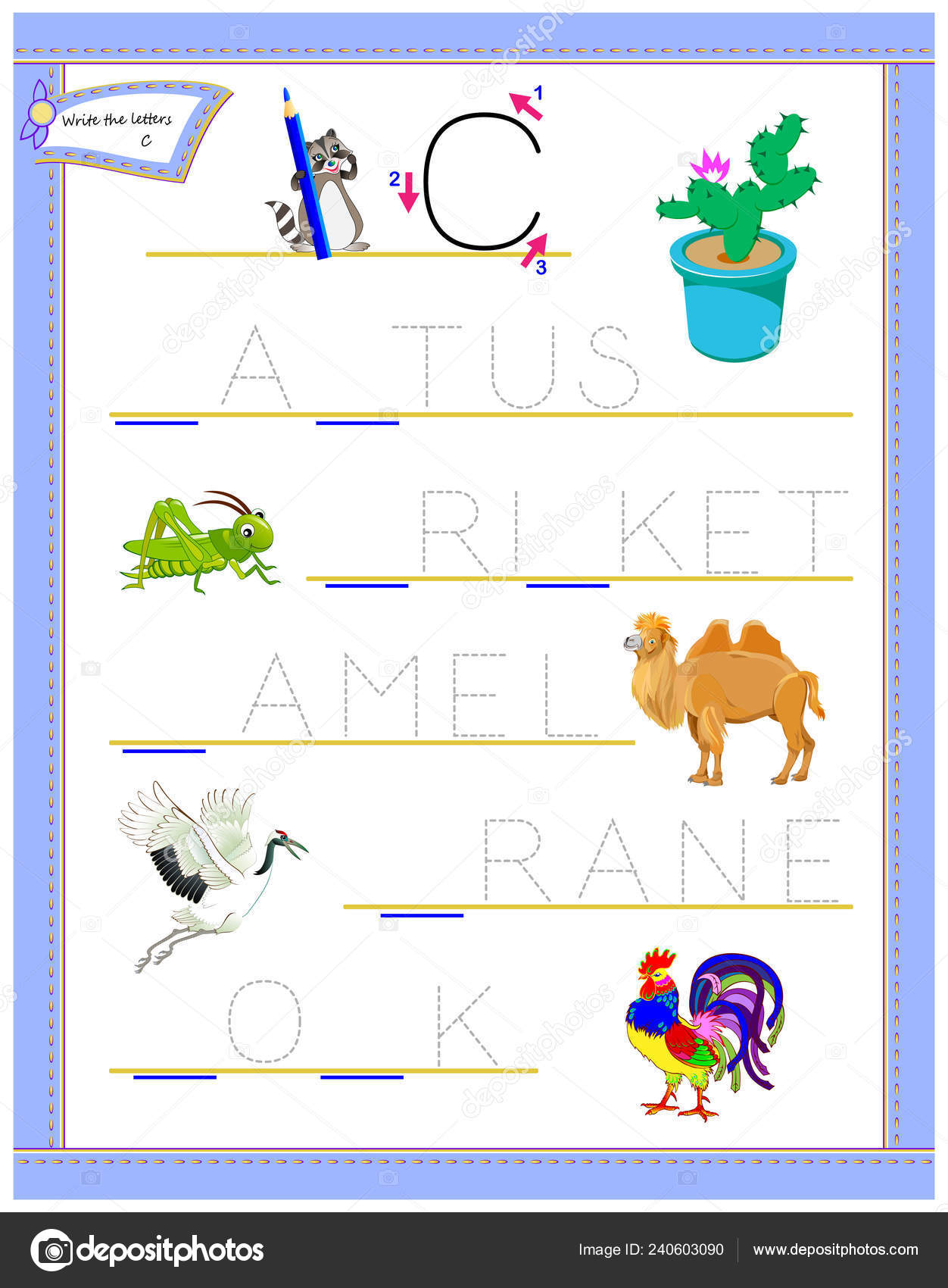 Tracing Letter Study English Alphabet Education Page