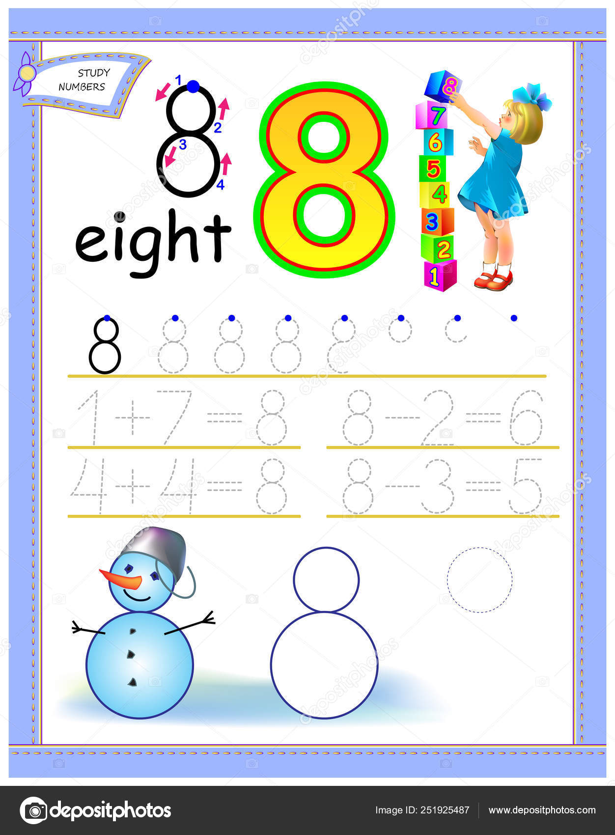 Educational Page Kids Number Solve Mathematical Examples