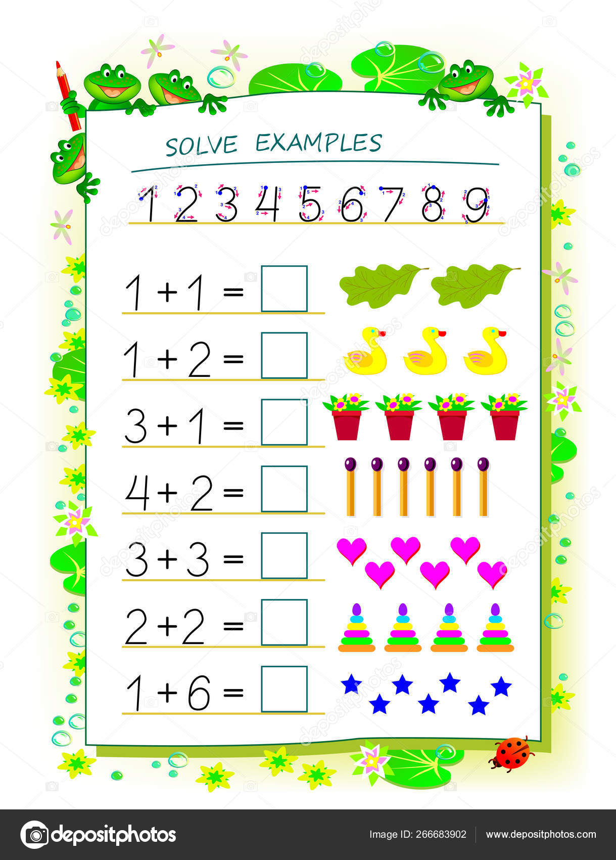 Educational Page Children Math Book Exercises Addition