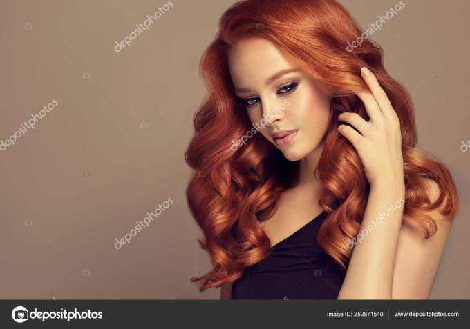 long curly red hairstyles | beautiful model girl long curly