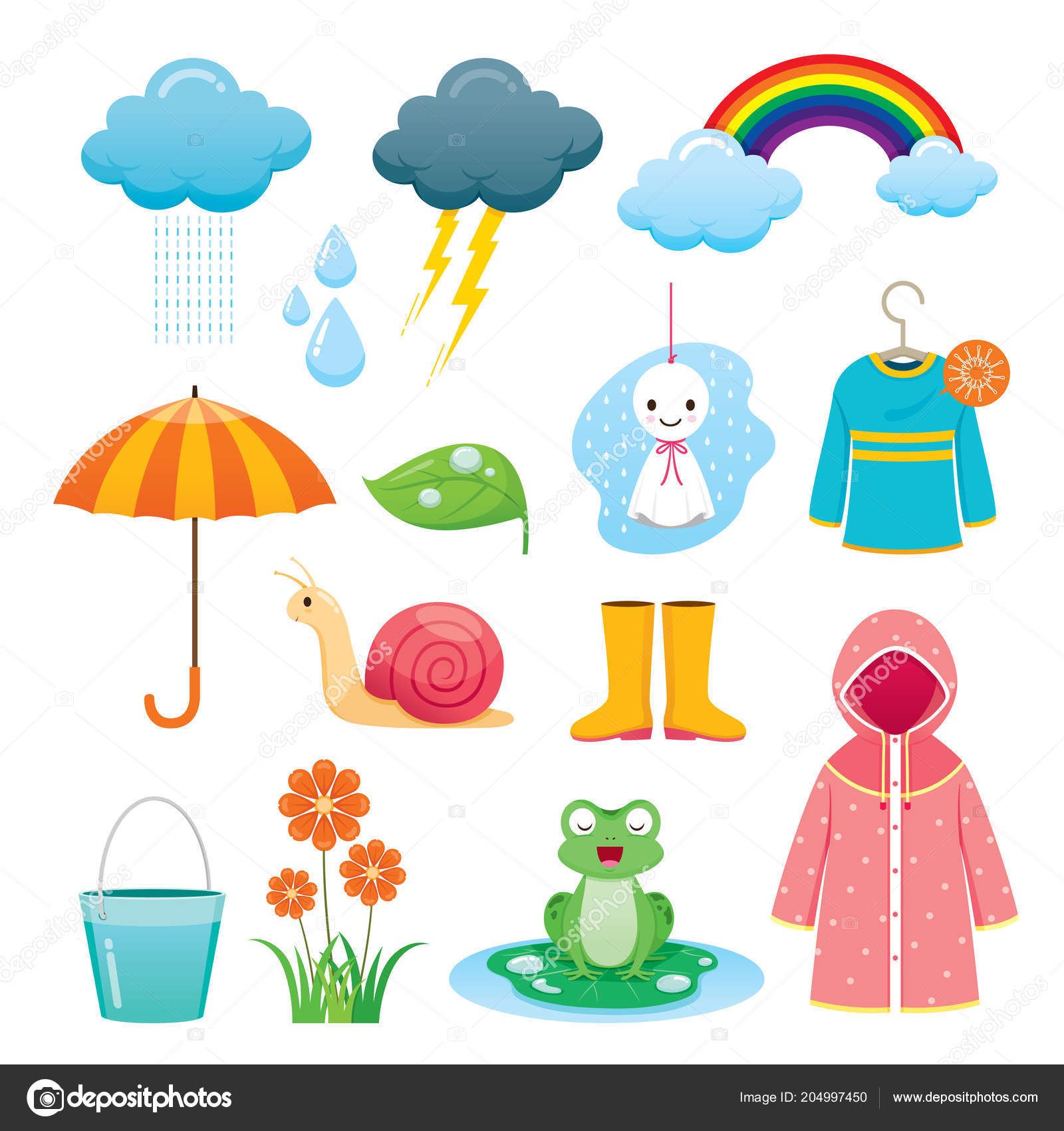 Rainy Season Icons Set Monsoon Nature Animal Flower