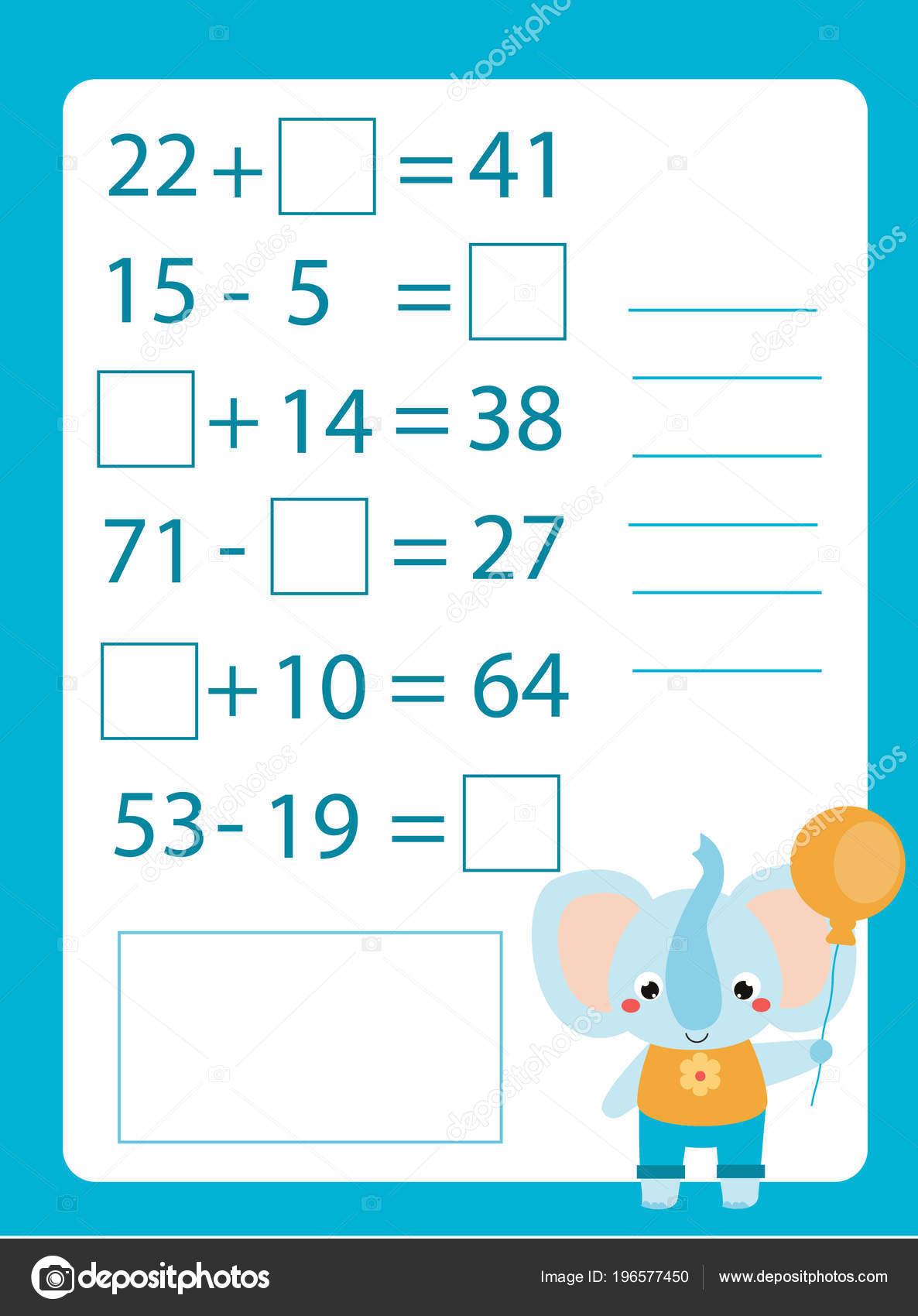 Mathematics Worksheet Educational Game Children Learning