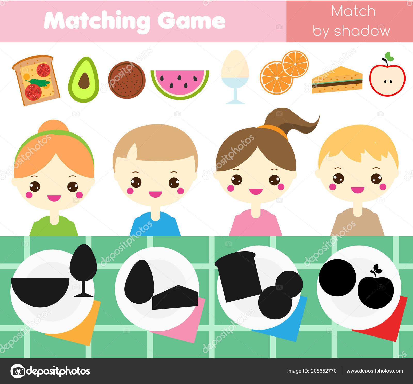Shadow Matching Game Children Find Right Shadow Kids