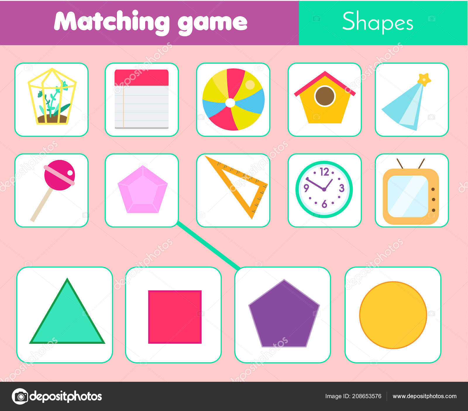 Educational Children Game Matching Game Worksheet Kids Match Shape Learning