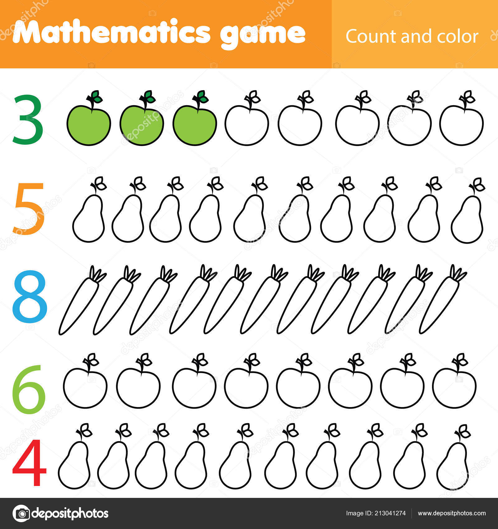 Mathematics Worksheet Kids Count Color Educational Children Activity Fruits Vegetables