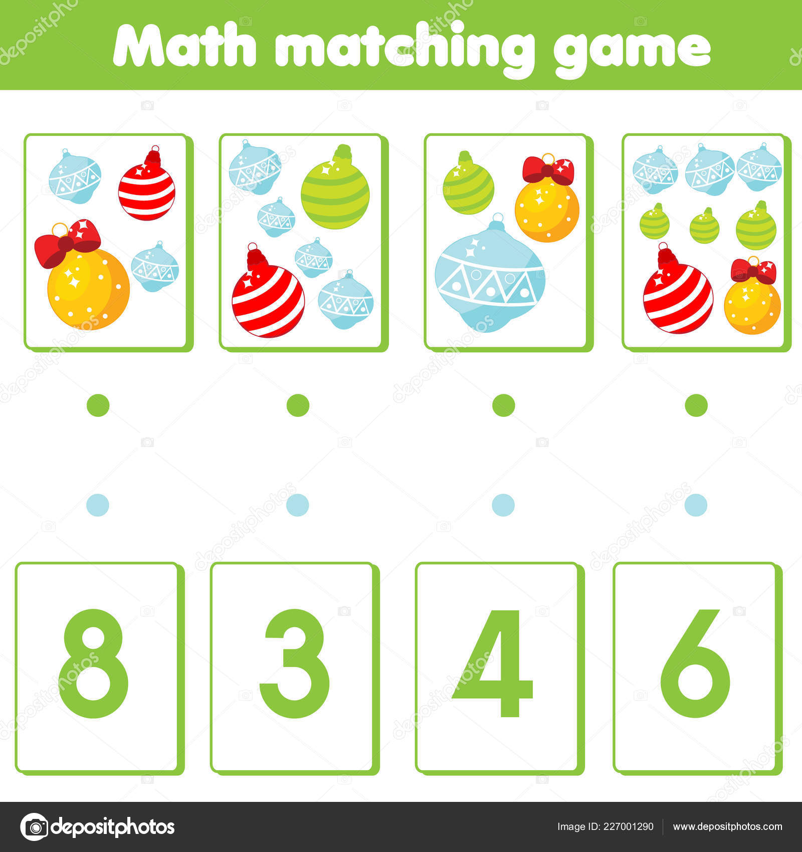 Mathematics Educational Game Children Match Objects