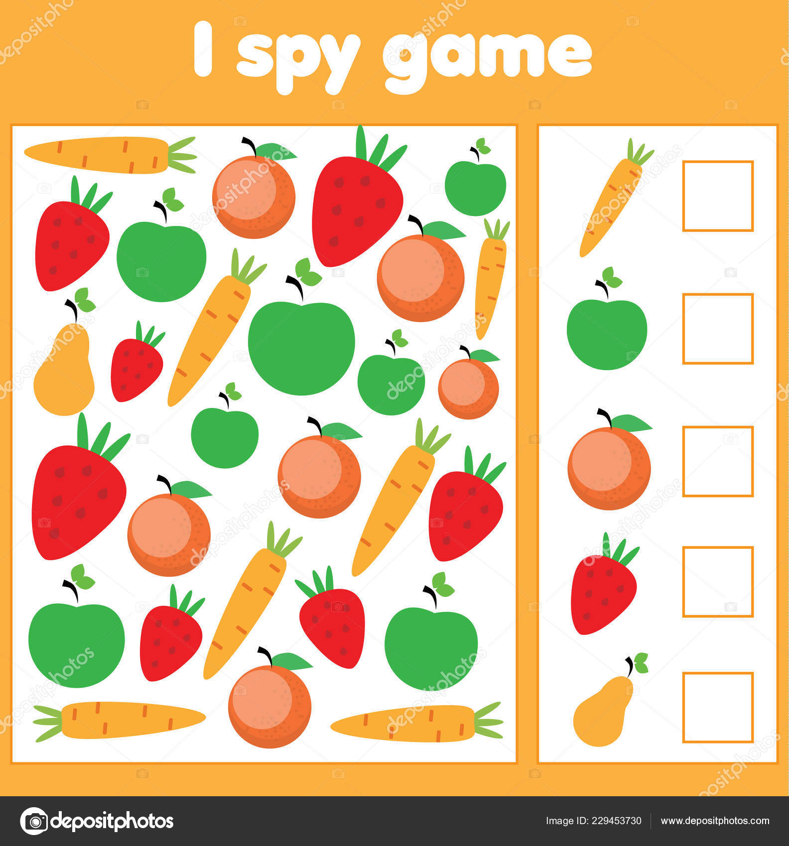 Spy Game Toddlers Find Count Vegetables Fruits Children