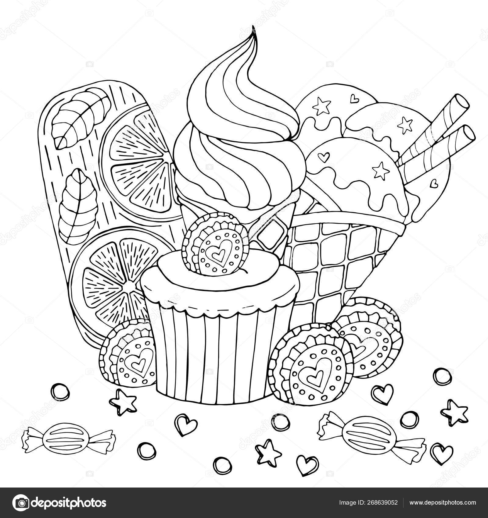 Coloring Pages Sweets Coloring Page With Cake Cupcake Candy Ice Cream And Other Des Stock Vector C Ellina200 Mail Ru 268639052