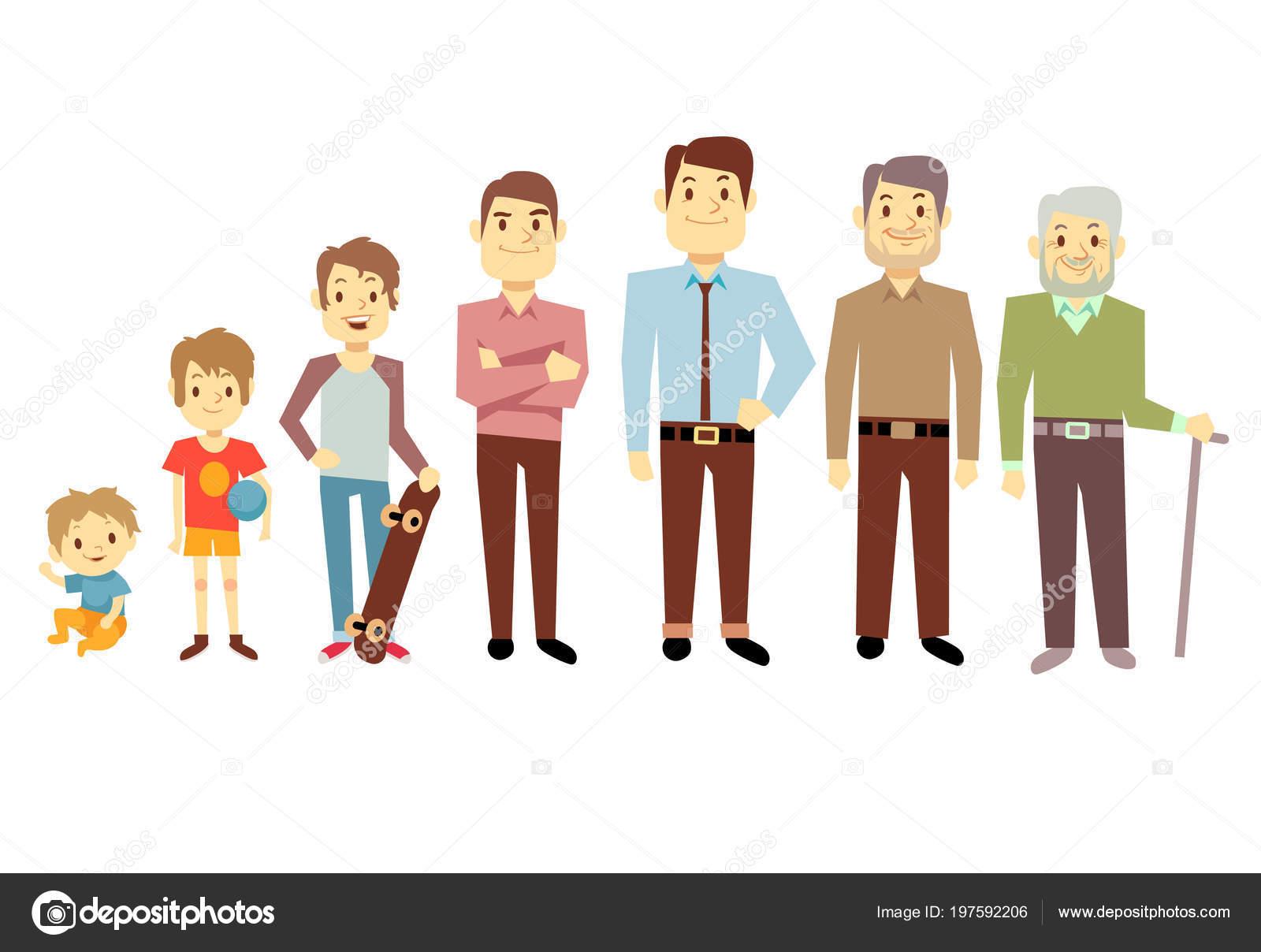 Manner Generation In Den Verschiedenen Altersstufen Vom Saugling Baby Bis Senior Greis Vektor