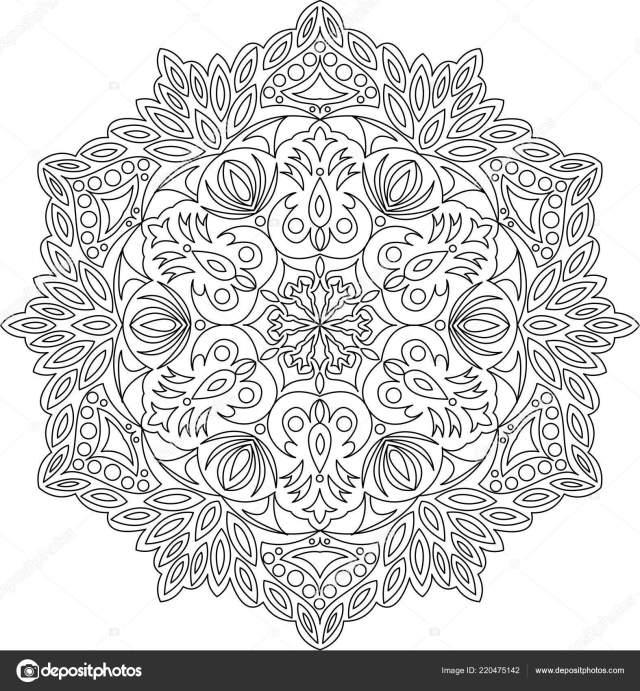 Adult Mandala Coloring Page Vintage Mandala Leaf Flowers