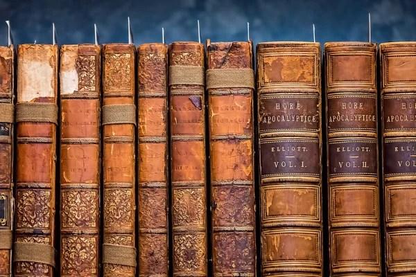 rangee livres anciens durs broches sur etagere dans une bibliotheque