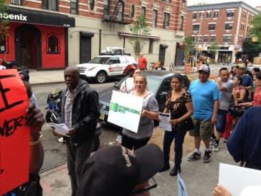 Tenants demonstrate against Raphael Toledano's egregious harassment tactics at 444 E 13th St.