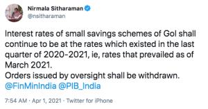 Small Savings Rate Cut 2021 Reversed Announcement