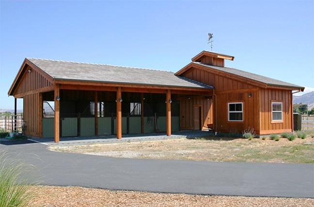 Small three stall barn with storage