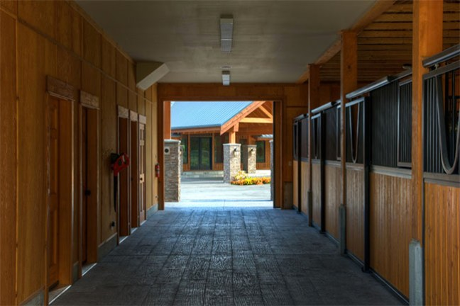 Interior barn with clean and new stalls