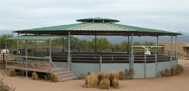 Raised and covered round pen