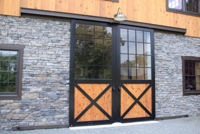 metal, wood, and glass barn doors