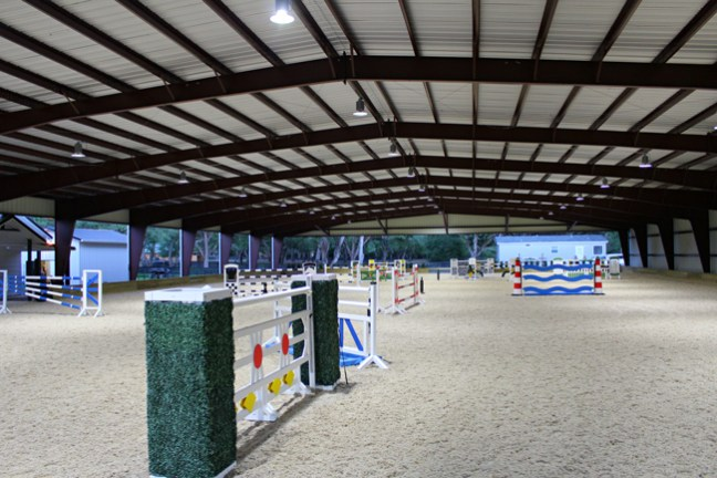 jumps set up in the brand new covered arena