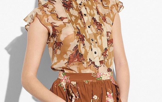 horse print sleeveless blouse