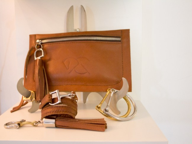 leather clutch and bracelets