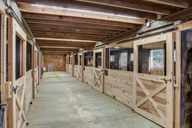 interior of the horse barn