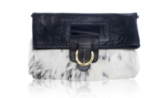 black leather cowhide clutch