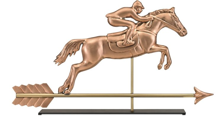 jumping horse and rider weathervane