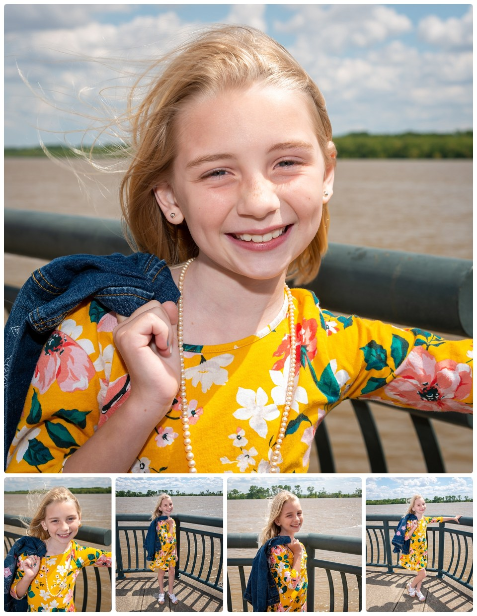 Girl smiles while getting her picture taken during her outdoor photography session.