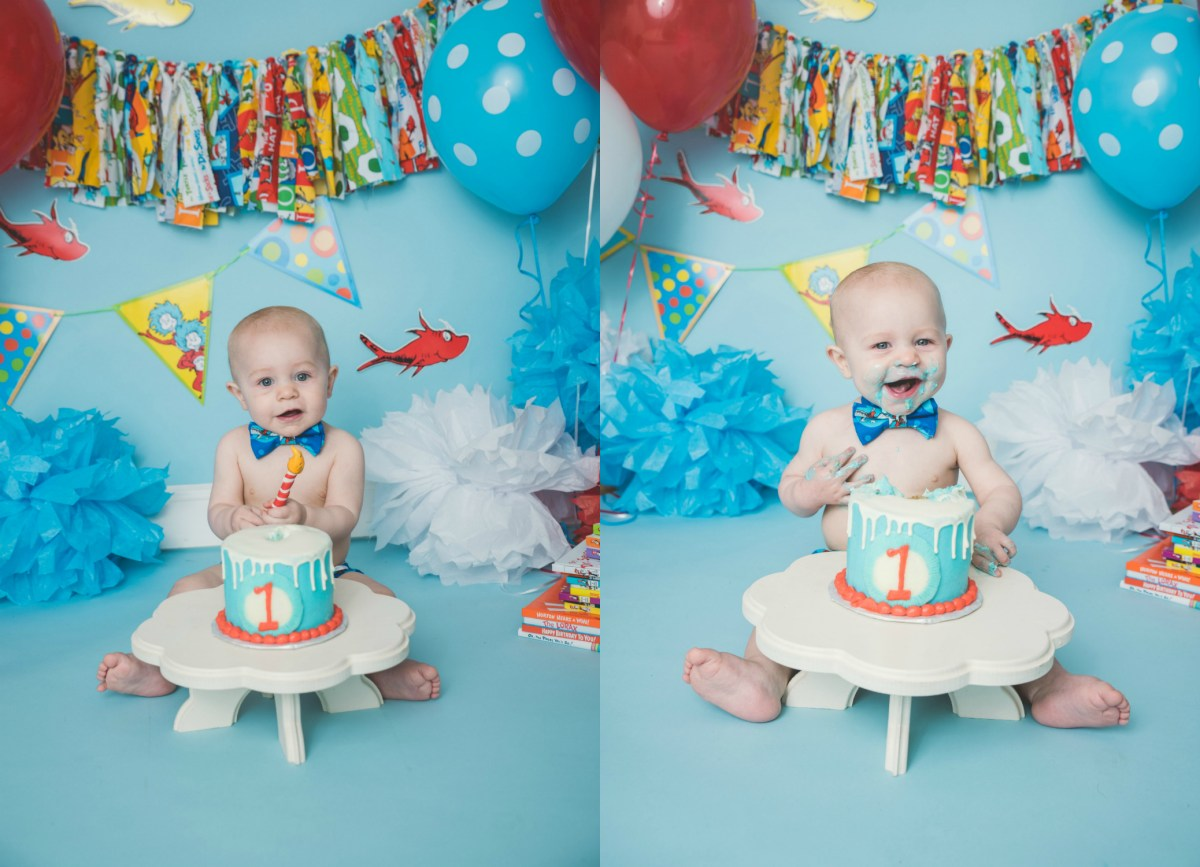Jace 1 Year | Dr Seuss Cake Smash Logan Utah