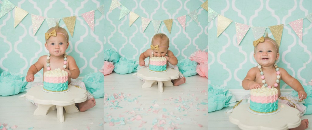 Pearce Cake Smash Pink Teal Gold Logan Utah