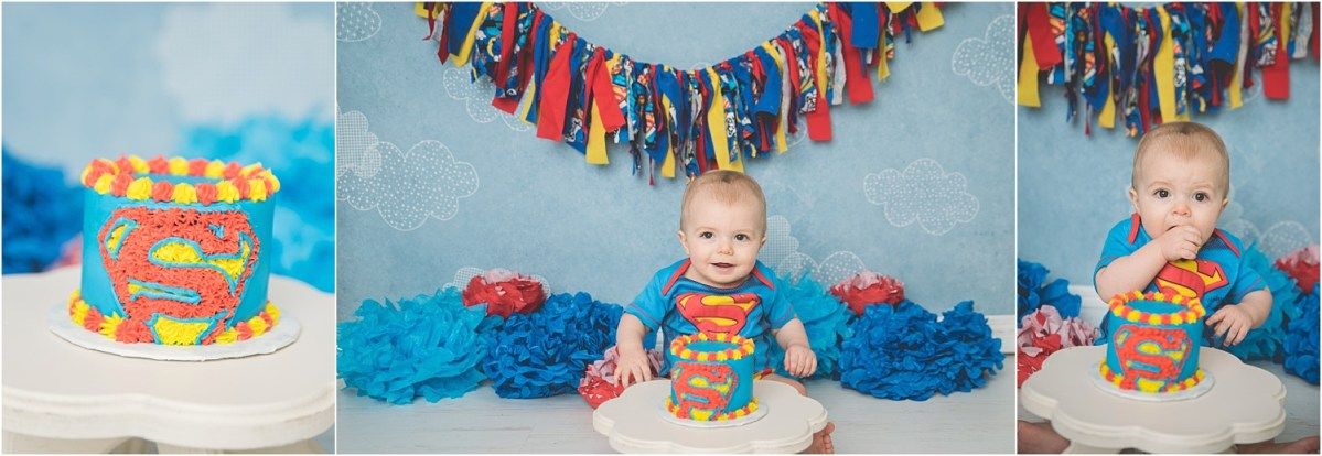 Johnny Logan Utah Cake Smash Photographer Superman Cake Smash Theme