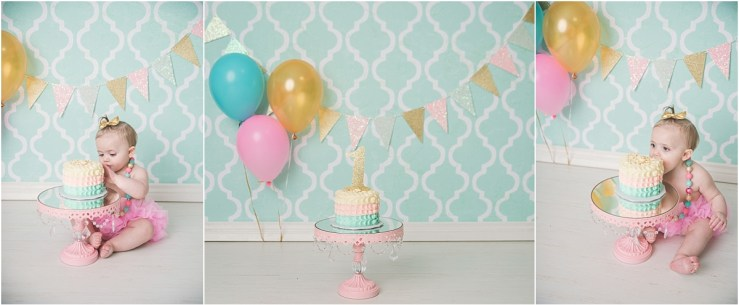 Teal Pink Gold Cake Smash Photographer