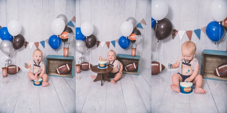Football Cake Smash Logan Utah Photographer