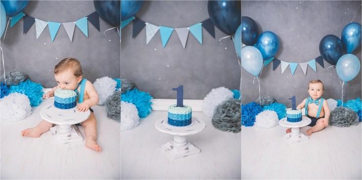 Cake Smash Logan Utah Photographer Blue White