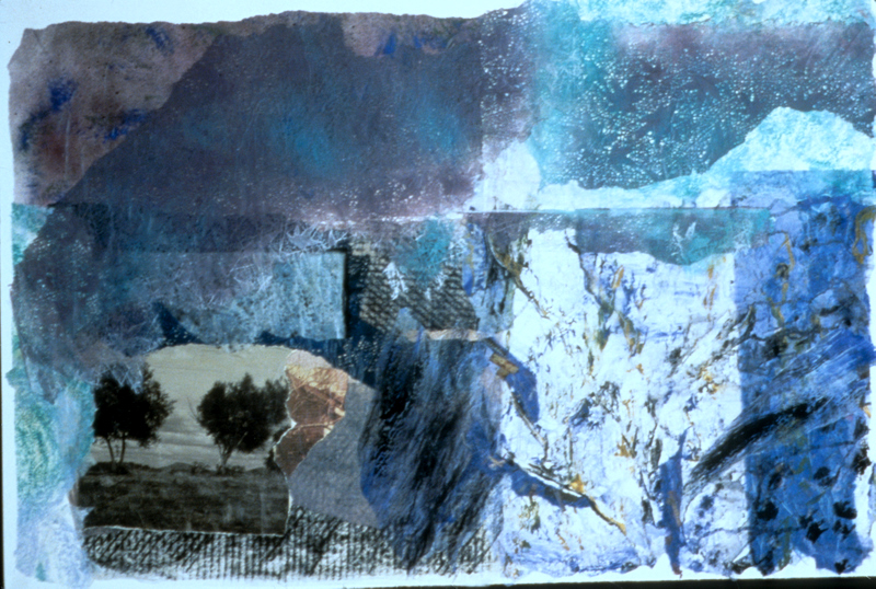 Blue November - 30x42.5 - Painted Paper Collage