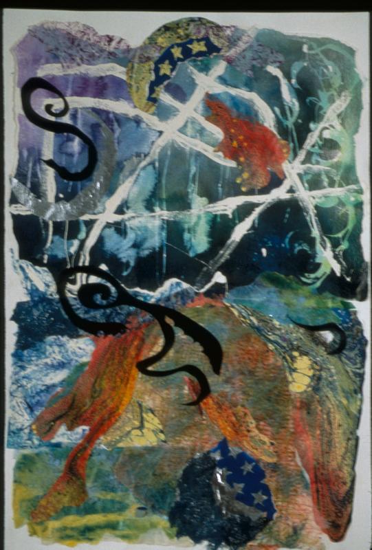 Jupiter - 40x26 - Handpainted Paper Collage