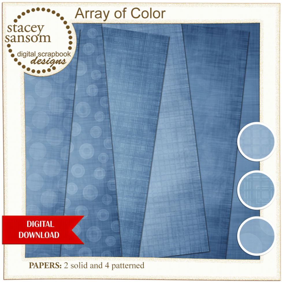 Array of Color Dusty Blue Paper Pack from Stacey Sansom Designs