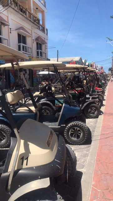 Golf carts on amergris cay belize