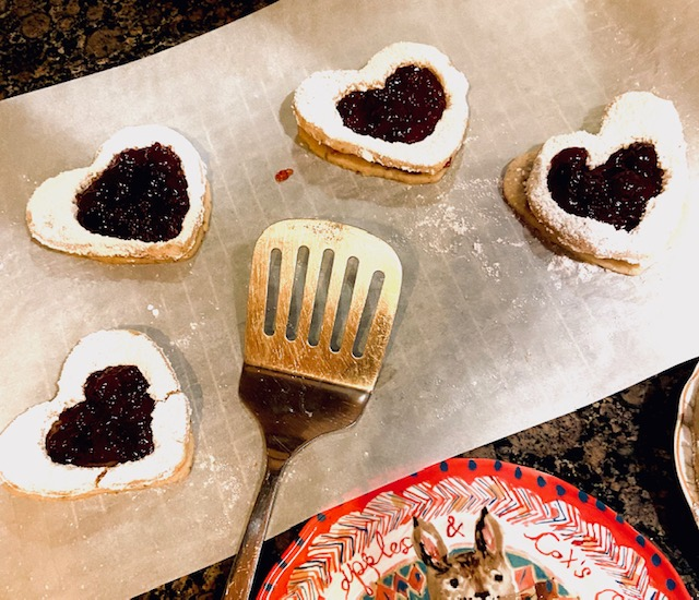 linzer cookies with spoon
