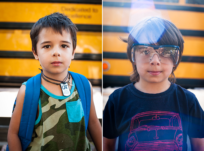 Two photographs showing the same boy on his way to the first and last day of school.