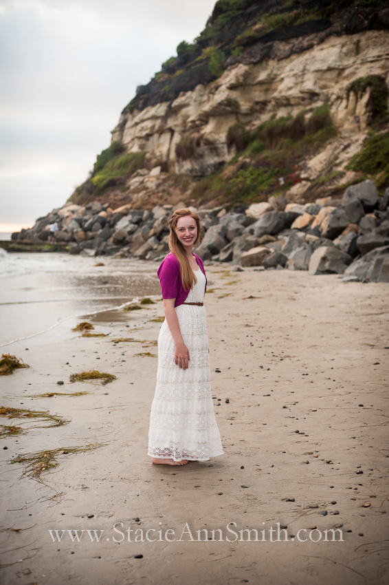 swami's beach, encinitas, color photograph, lace dress, senior portrait, girl, strawberry blond
