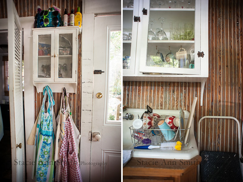 southern kitchen, beadboard, rustic, aprons